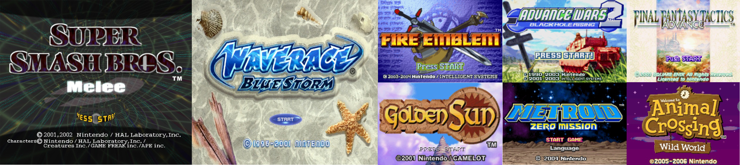 Title Screens of some of the games that help broaden my horizons.