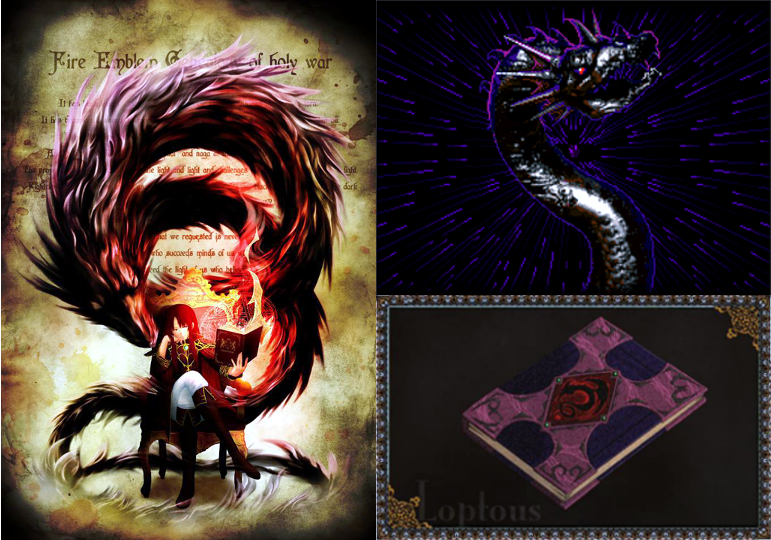Left: Fan art of Julius and Loptyr; Right: The Loptyr Tome used by Julius in the game.