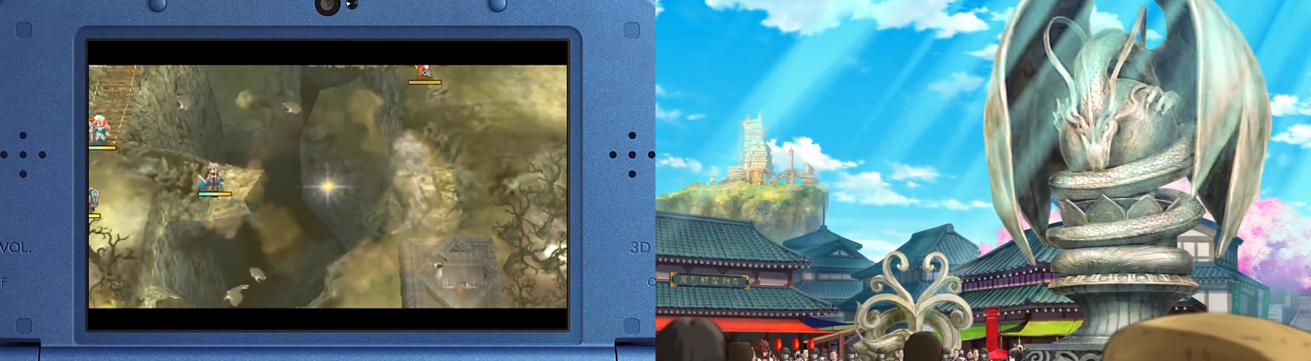 """Left: The Avatar's """"dragon's vein"""" ability; Right: The dragon statue overlooking an Hoshidan locality."""