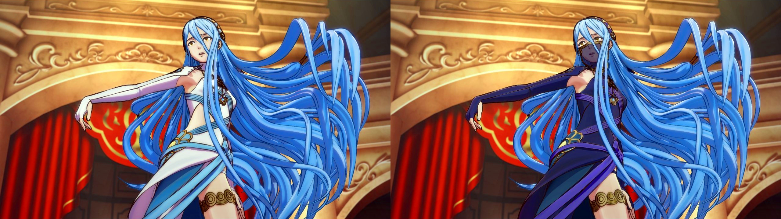 The two dresses Aqua will wear depending on your choice.
