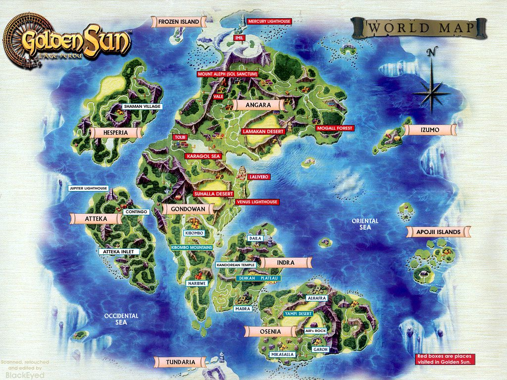 Official World Map Art for Golden Sun: The Lost Age