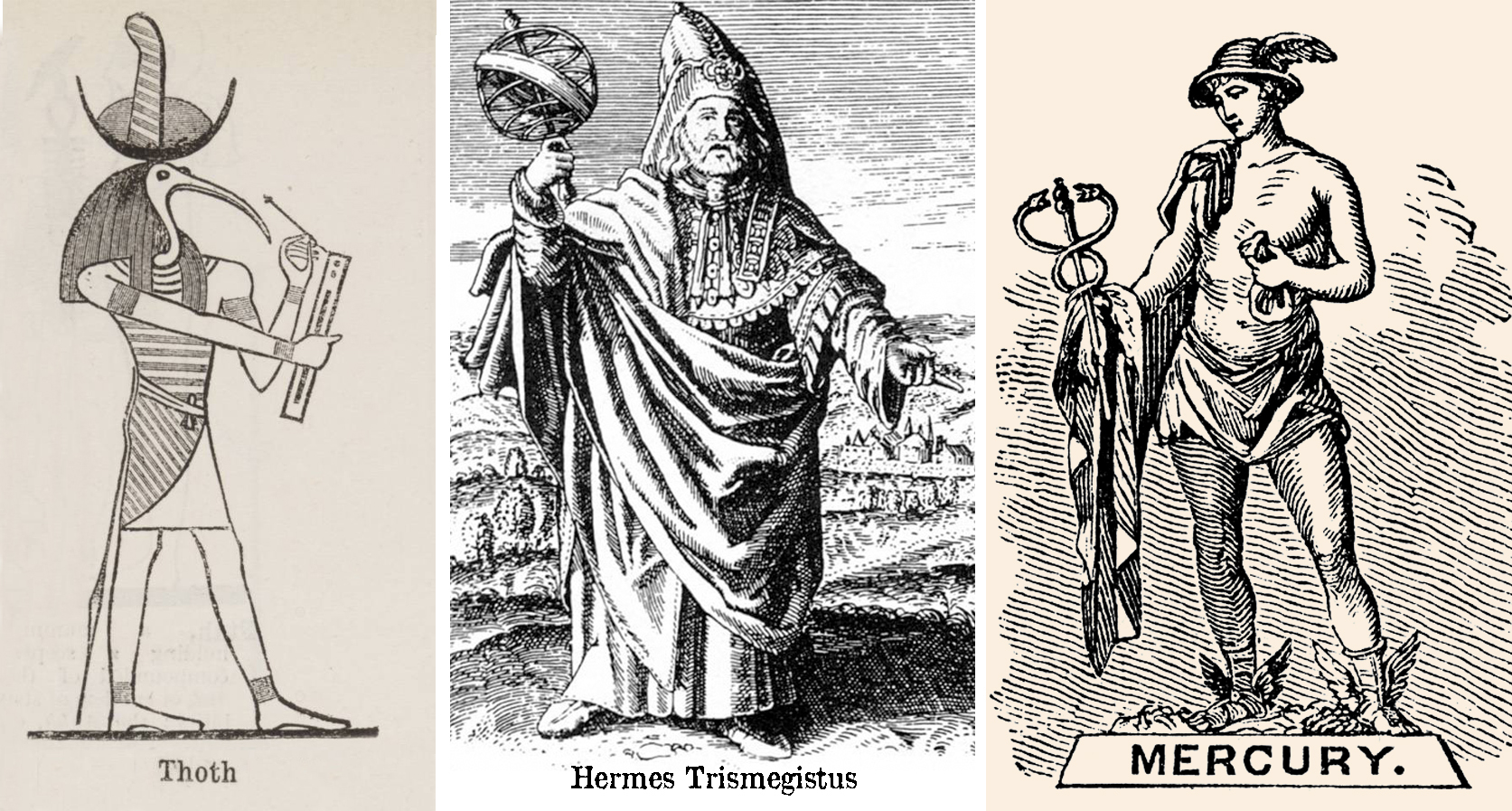 The many faces of Thoth, as himself, Hermes Trismegistus, and Mercury.