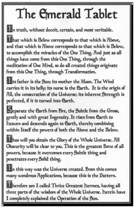 The Emerald Tablet of Hermes Trismegistus (Thoth).