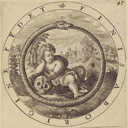 "An artistic rendering of the Ouroboros, by Gabriel Rollenhagen, depicting the eternal cycle of life. The text reads ""Finis Ab Origine Pendet"", which translates to ""The end depends on the beginning""."
