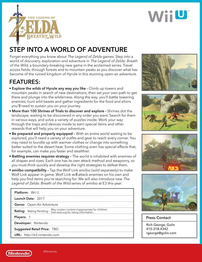 Zelda Breath of the Wild Facts Sheet