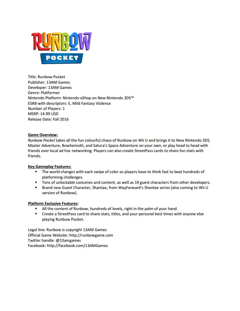 Runbow Facts Sheet