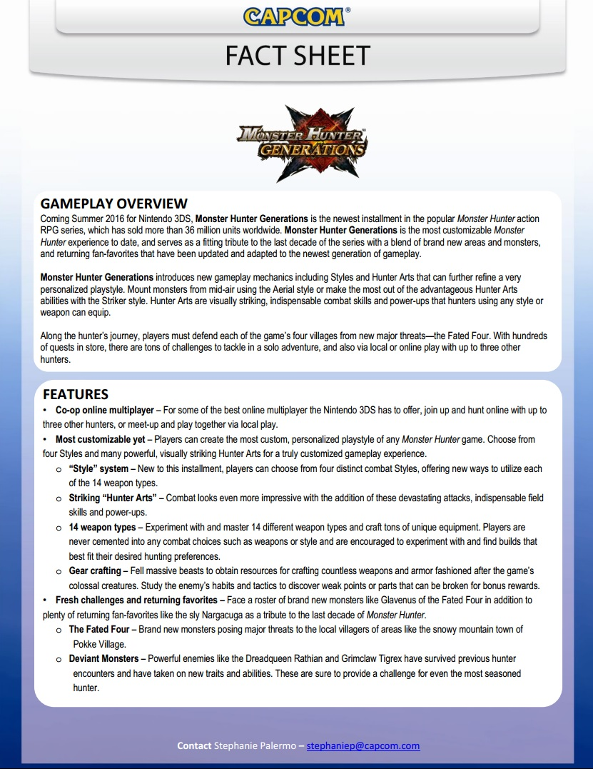 Monster Hunter Generations Facts Sheet