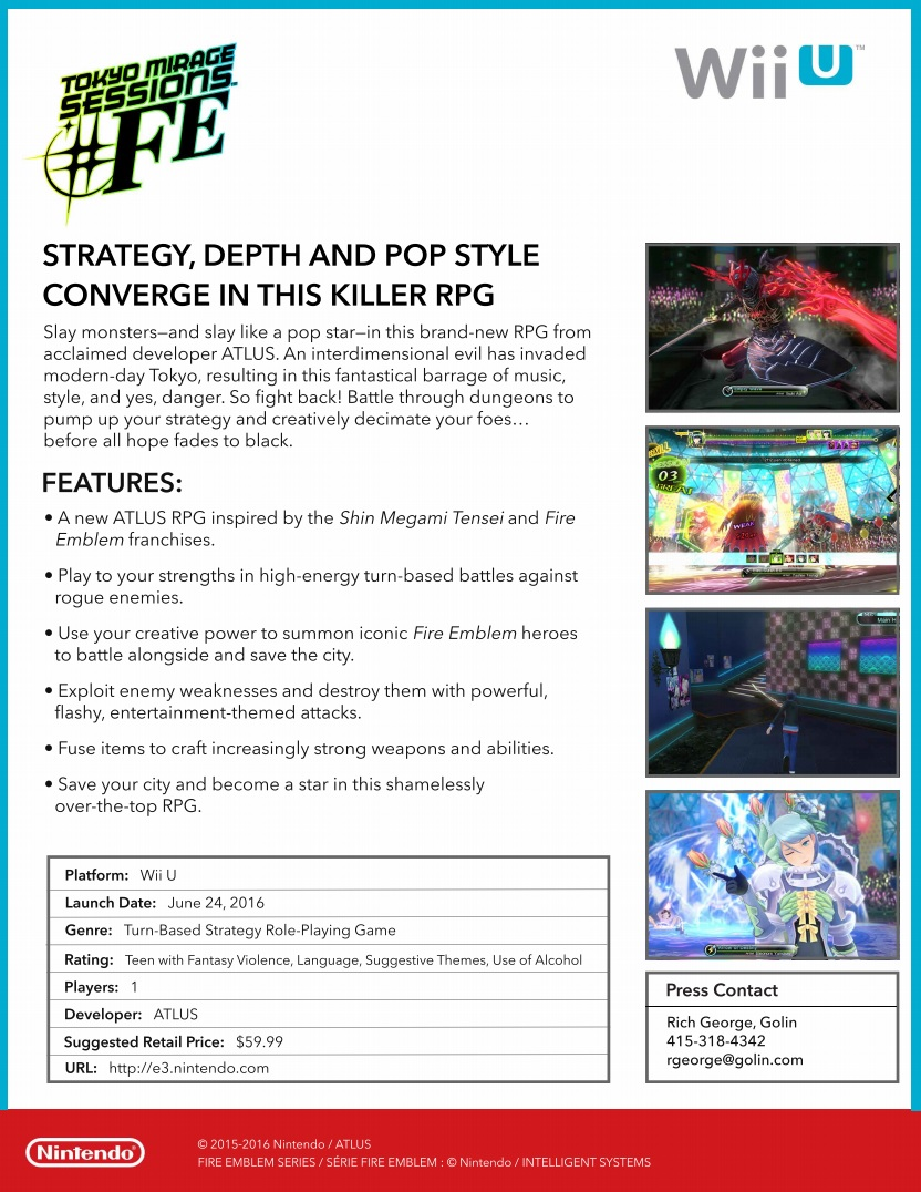 Tokyo Mirage Sessions FE Facts Sheet
