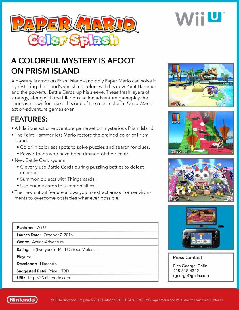 Paper Mario Color Splash Facts Sheet