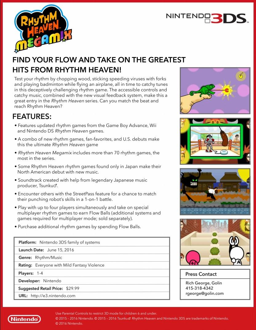 Rhythm Heaven Megamix Facts Sheet